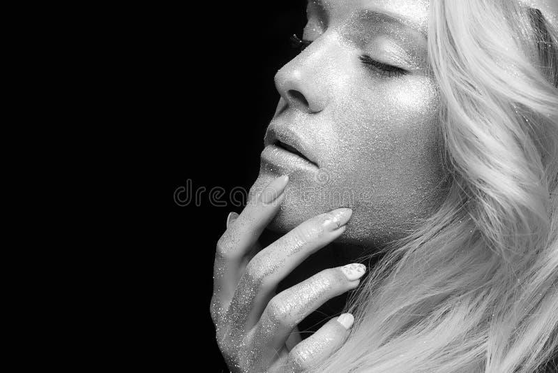 Zilveren meisje Mooie Vrouw met Fonkelingen stock foto's