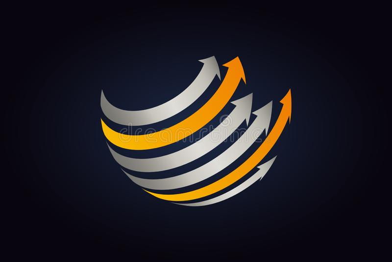 Zilveren metaal en oranje pijlen die rond de gebiedvorm gaan vector illustratie