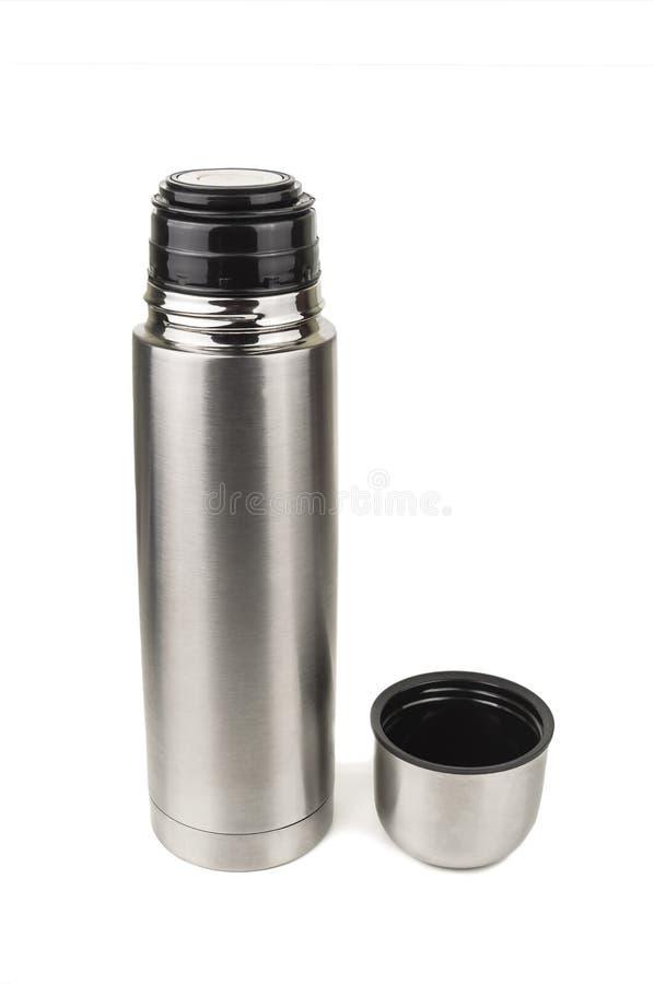 Zilveren metaalthermosflessen stock fotografie