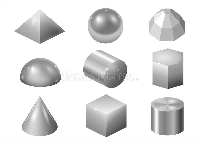 Zilveren metaalvormen stock illustratie