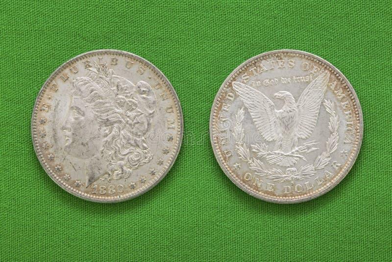 Zilveren Morgan-Amerikaanse dollars 1880 obversomgekeerde royalty-vrije stock afbeelding