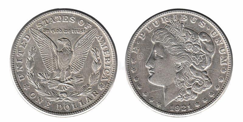 Zilveren Morgan-dollar voor die en achterkant op wit wordt geïsoleerd stock fotografie