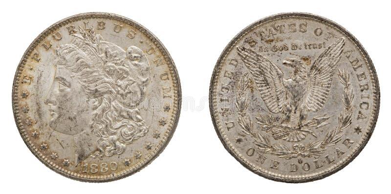 Zilveren Morgan-geïsoleerde Amerikaanse dollars 1880 royalty-vrije stock foto