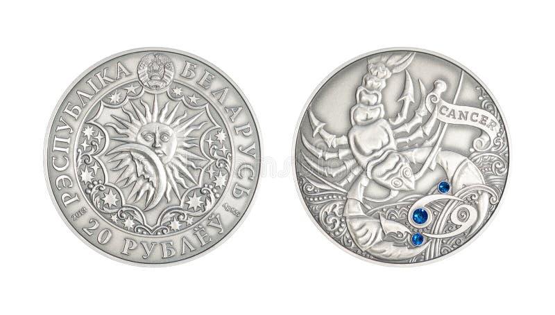 Zilveren muntstuk Astrologisch teken Canver royalty-vrije illustratie