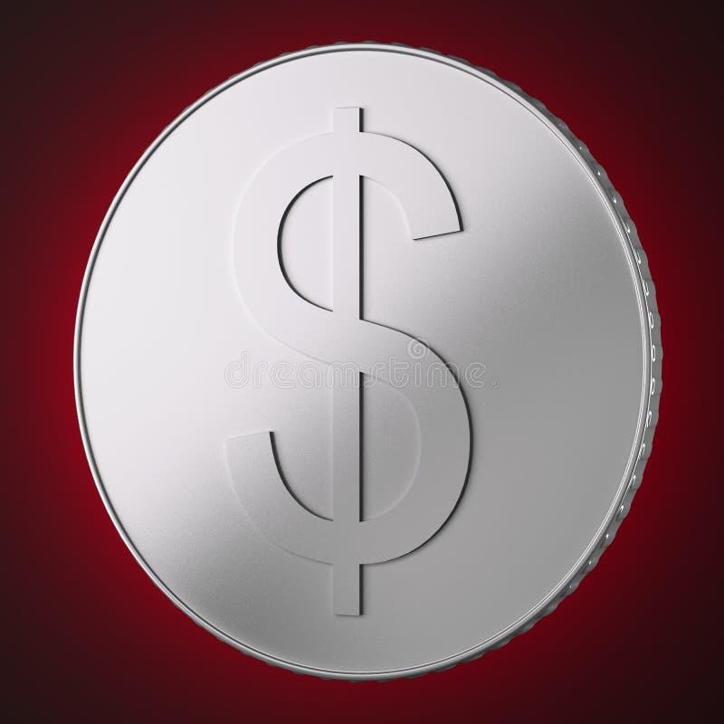 Zilveren muntstuk met dollarteken royalty-vrije illustratie