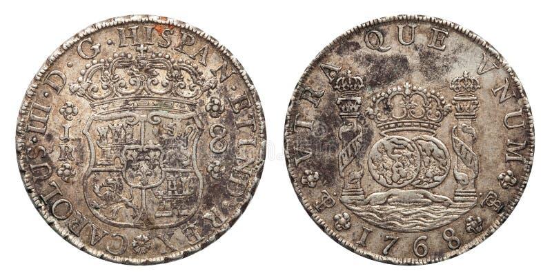 Zilveren muntstuk 8 van Mexico echte 1768 stock foto