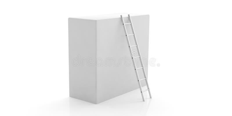 Zilveren muurladder tegen een witte die doos op witte achtergrond wordt geïsoleerd 3D Illustratie royalty-vrije illustratie