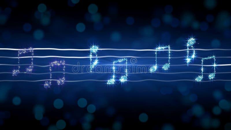 Zilveren nota's over bladmuziek, de illustratie van de maanlichtsonate, karaokeachtergrond vector illustratie