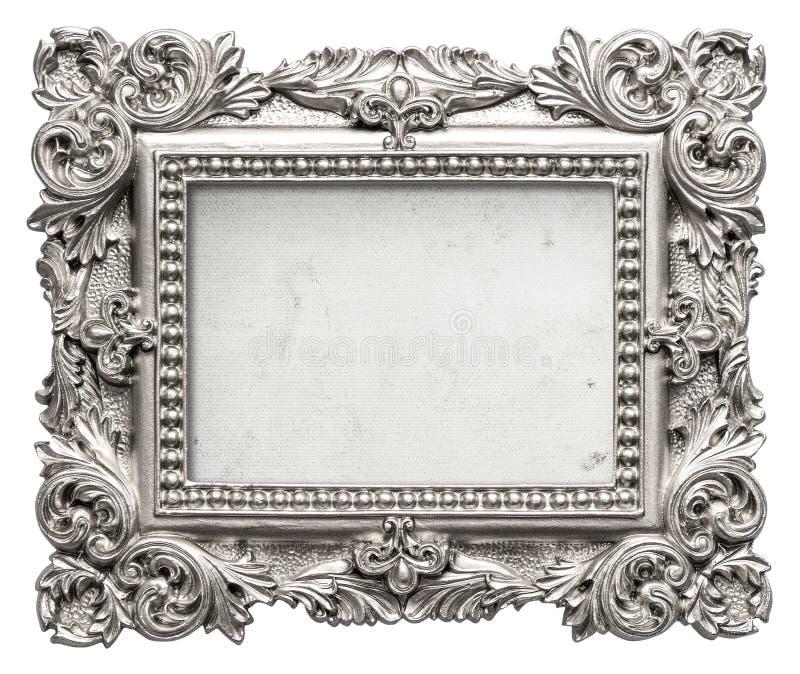 Zilveren omlijsting met grungy canvas Uitstekend barok voorwerp royalty-vrije stock foto's