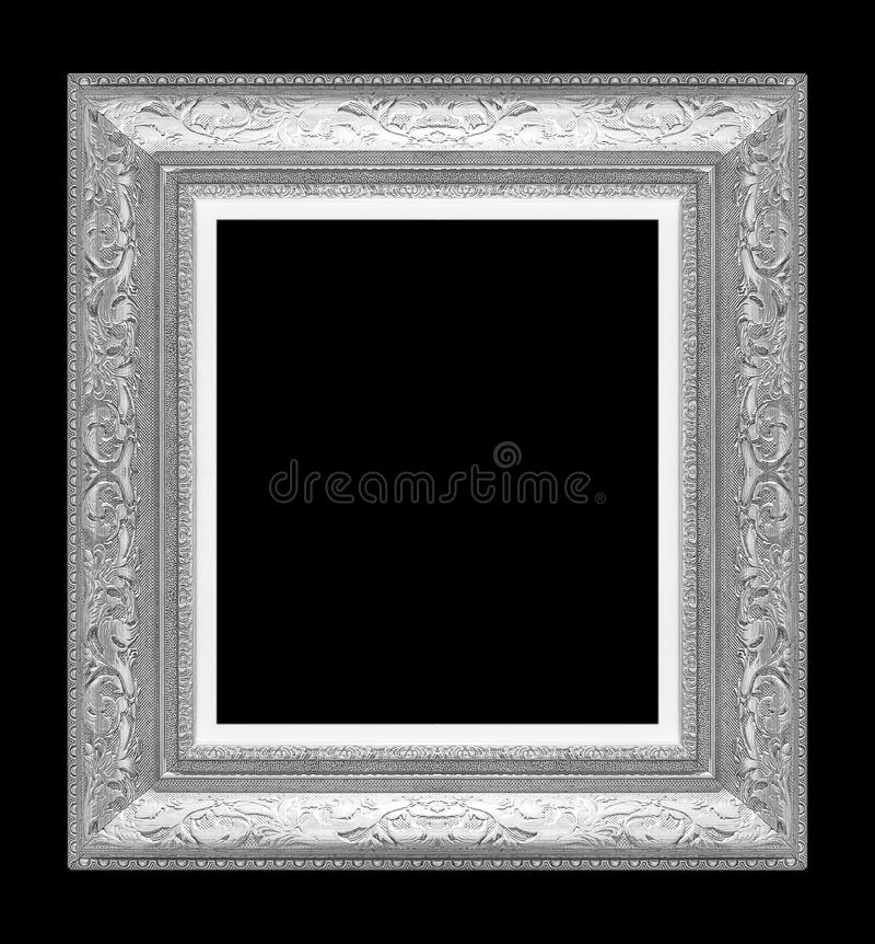 Zilveren omlijsting op zwarte royalty-vrije stock fotografie