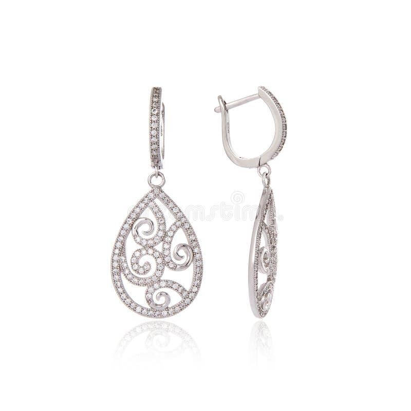 Zilveren oorringen royalty-vrije stock foto