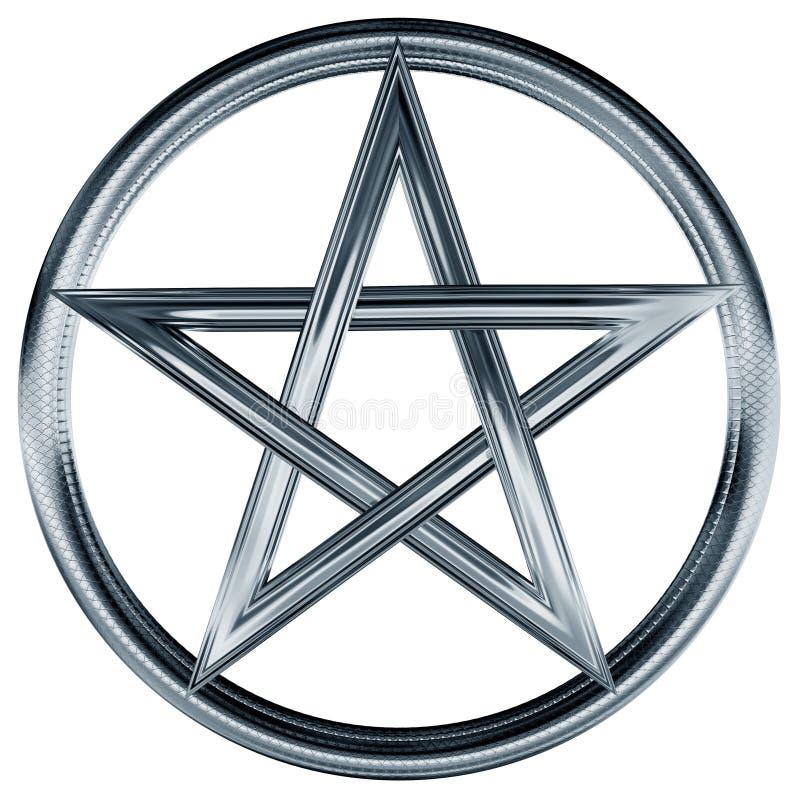 Zilveren pentagram royalty-vrije illustratie