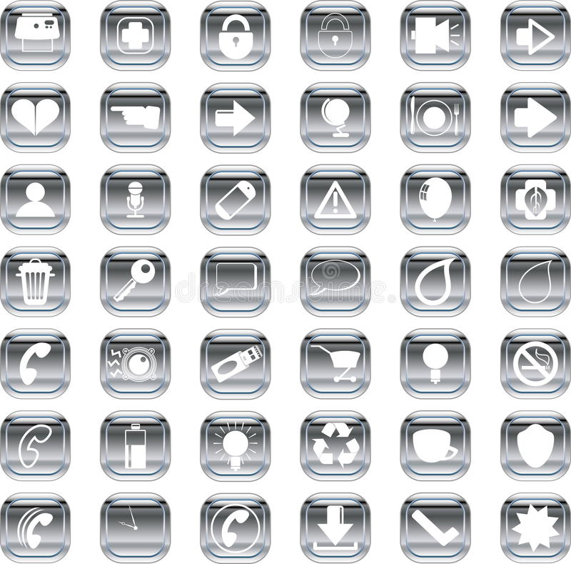Zilveren pictogrammen royalty-vrije illustratie