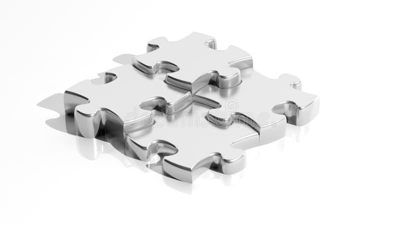 Zilveren puzzelstukken vector illustratie