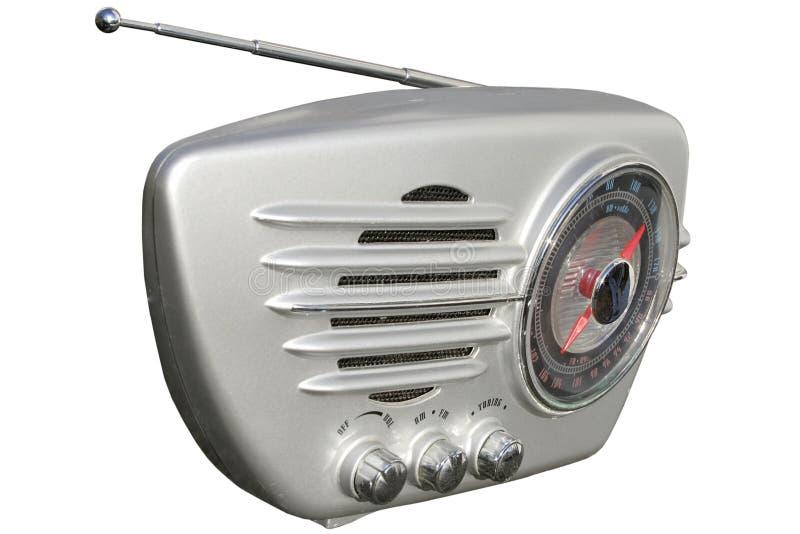 Zilveren retro radio royalty-vrije stock afbeeldingen