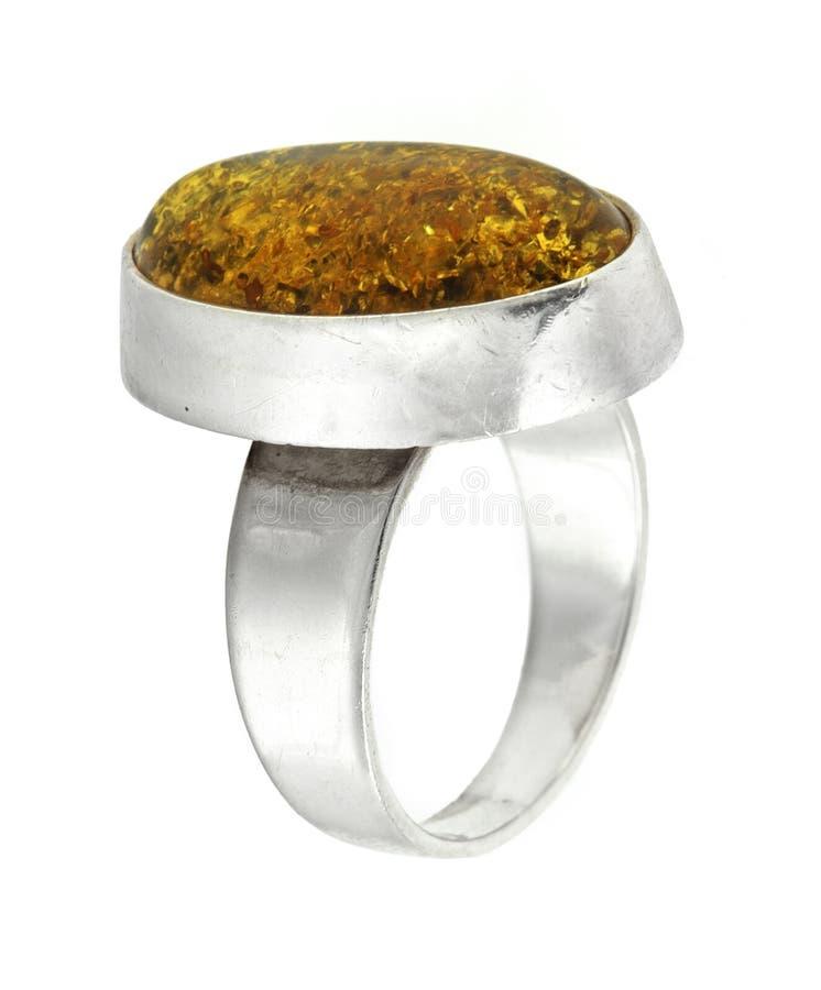 Zilveren ring met amber stock foto's