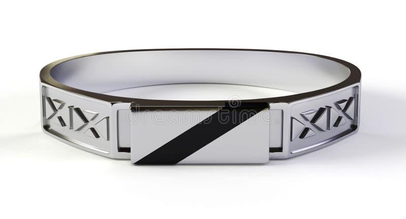 Zilveren ring met obsidian 3d gem, stock afbeelding