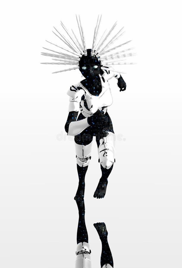 Zilveren robotmeisje royalty-vrije illustratie