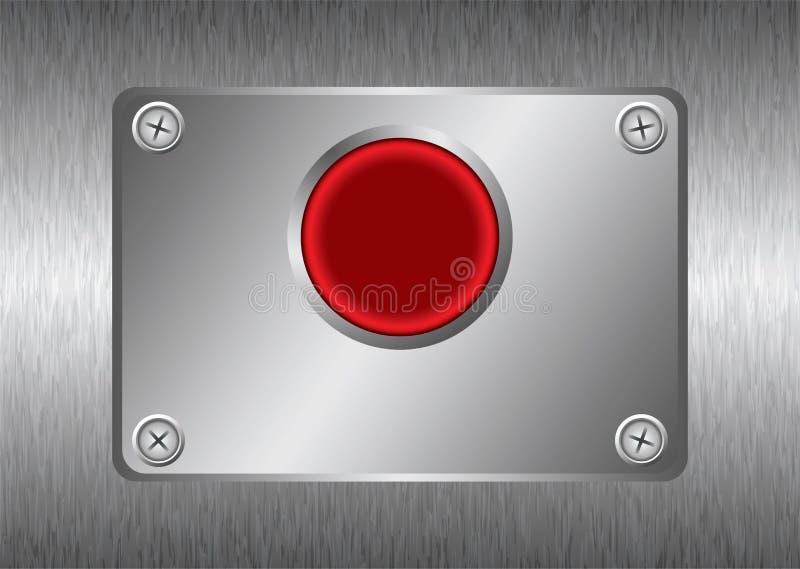 Zilveren rode metaalknoop stock illustratie