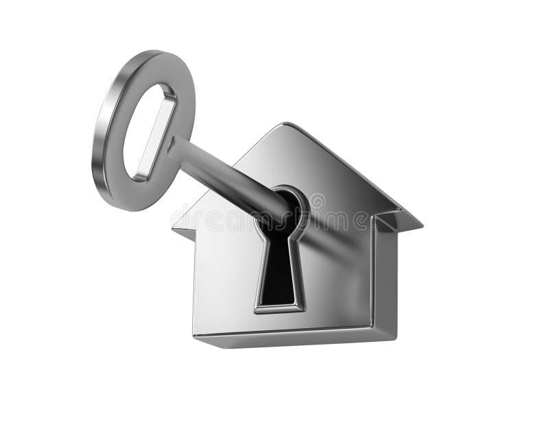 Zilveren sleutel in sleutelgat vector illustratie