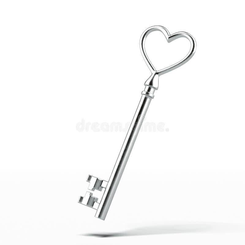 Zilveren sleutel in vorm van hart stock illustratie