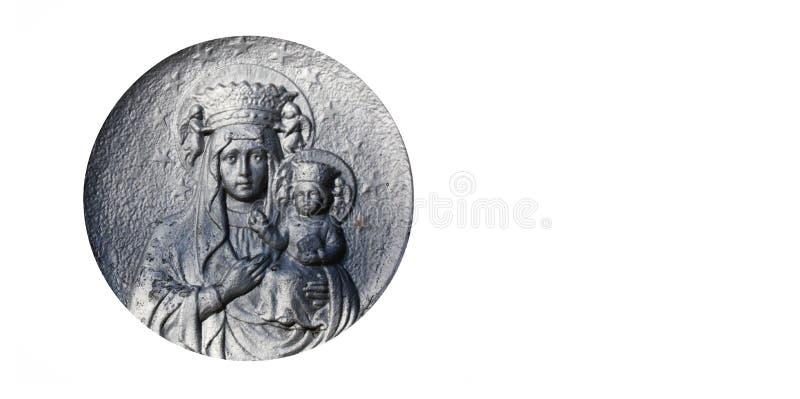 Zilveren standbeeld van Maagdelijke Mary met de baby Jesus Christ in h stock fotografie
