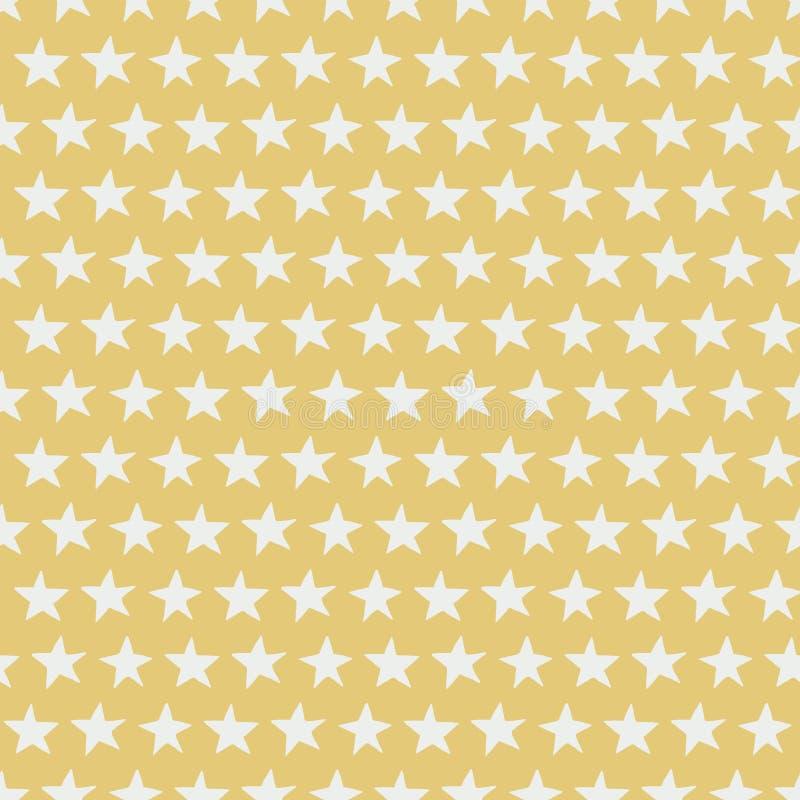 Zilveren sterren op gouden naadloos patroon als achtergrond vector illustratie