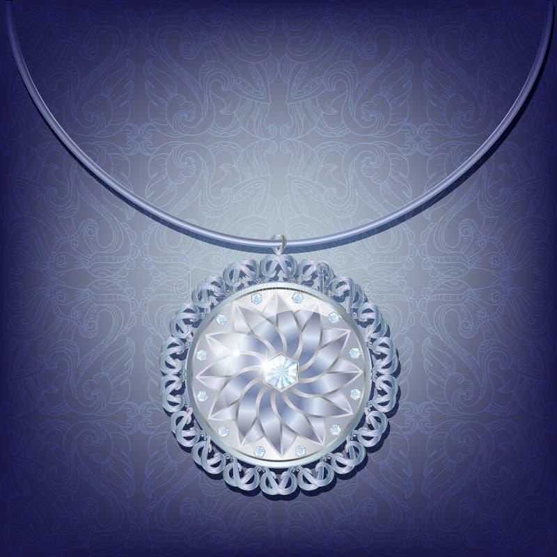 Zilveren tegenhanger met diamanten vector illustratie