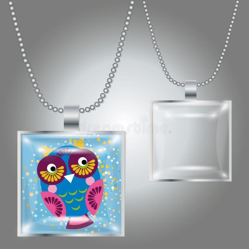 Zilveren tegenhanger met vierkant duidelijk glas cabochon voor uw beeld stock illustratie