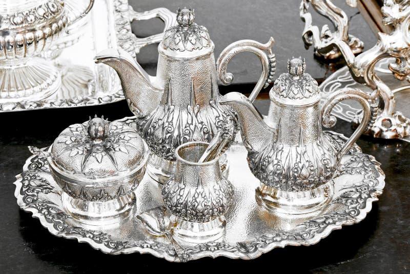Zilveren theestel royalty-vrije stock fotografie