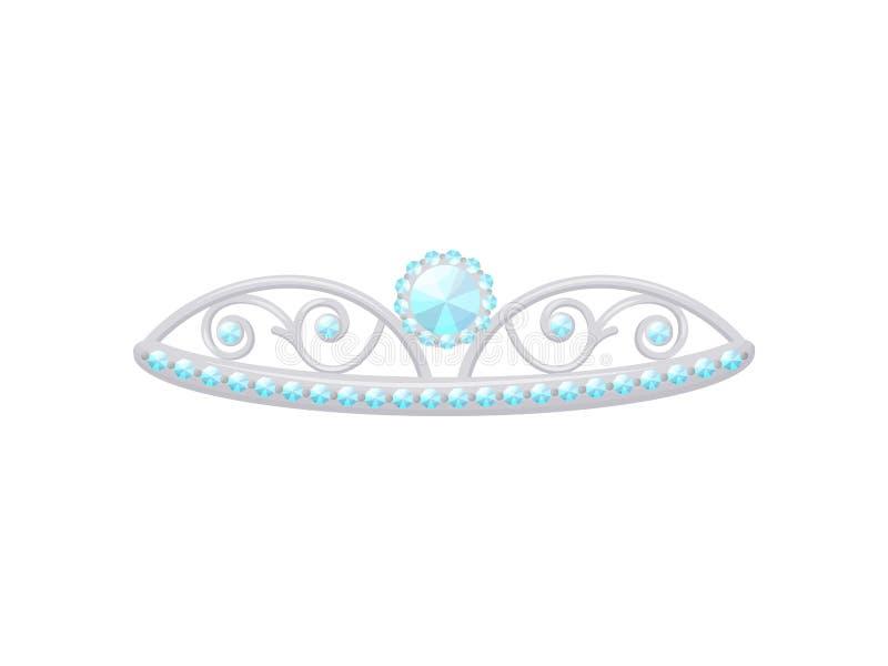 Zilveren tiara met een grote diamant Vector illustratie vector illustratie