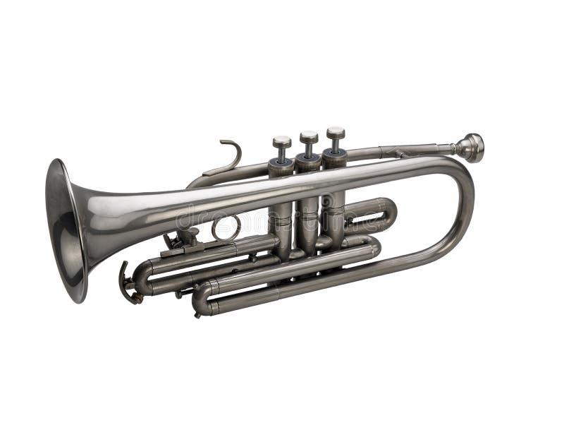 Zilveren trompet stock fotografie