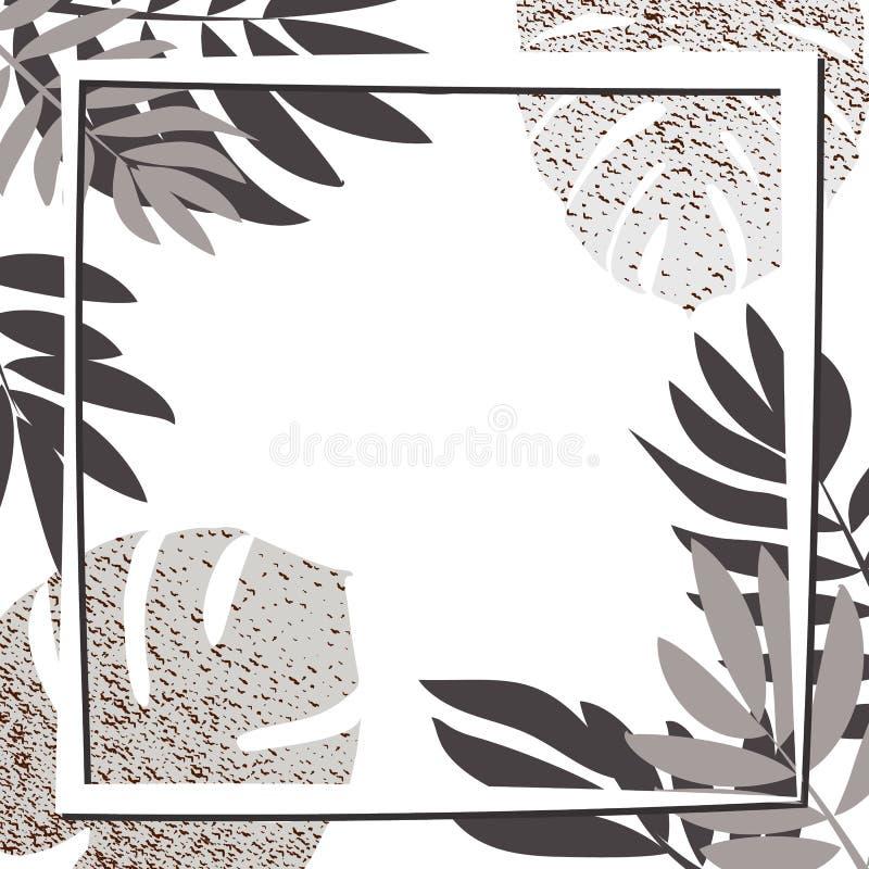 Zilveren tropische bladeren met kader stock illustratie