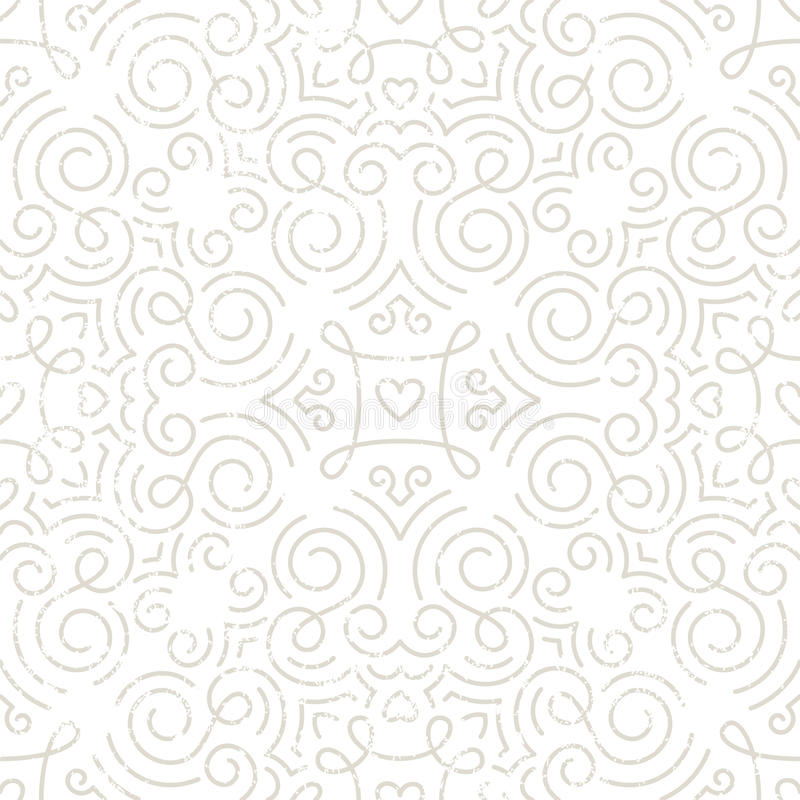 Zilveren uitstekend behang met wervelingen en harten vector illustratie