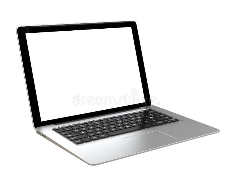 Zilveren ultra slanke laptop computer royalty-vrije illustratie