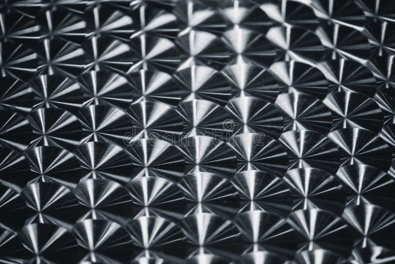Zilveren van de de rotatieborstel van de metaal weerspiegelende cirkel het patroontextuur stock foto