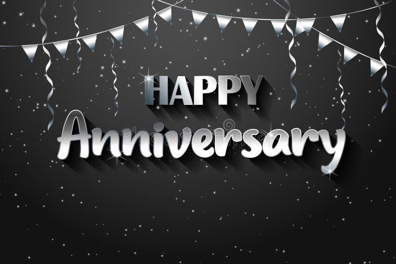 Zilveren vectorillustratie gelukkige verjaardag, zilveren textuur luxueus ontwerp, het zilveren element van het verjaardagsontwer vector illustratie