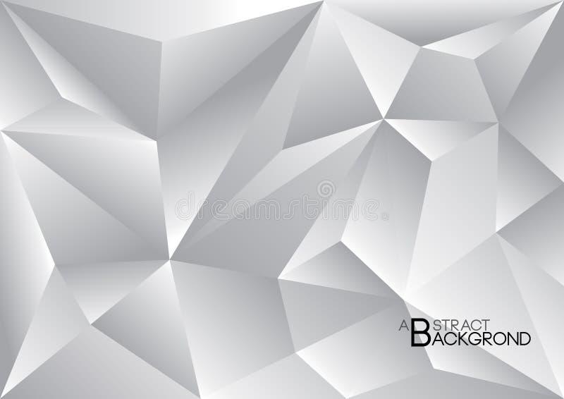 Zilveren veelhoekige achtergrond, vectorillustratie, Grijze abstracte textuur stock illustratie