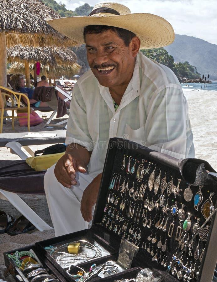 Zilveren Verkoper Playa Las Estacas Mexico royalty-vrije stock fotografie