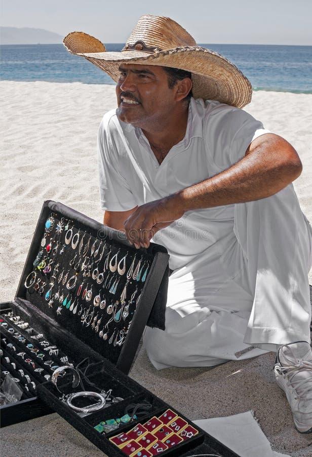 Zilveren Verkoper Playa Las Estacas Mexico royalty-vrije stock afbeeldingen