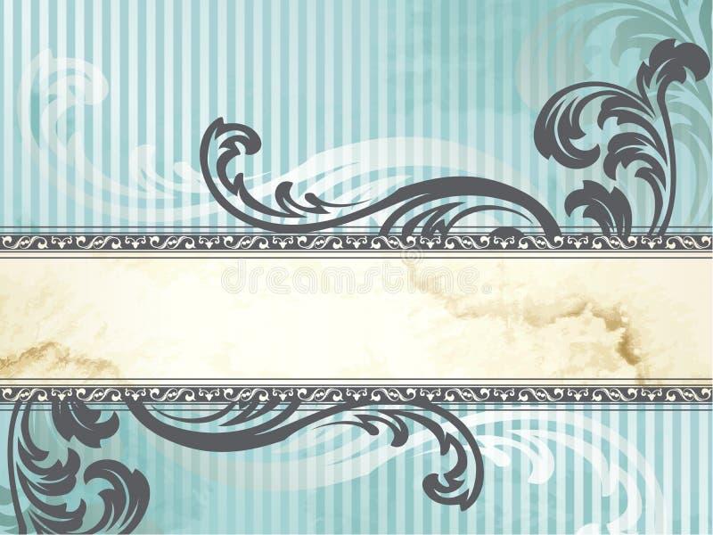 Zilveren Victoriaanse uitstekende horizontale banner, vector illustratie