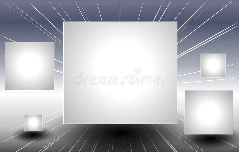 Zilveren Vierkante Comités die door Ruimte vliegen stock illustratie