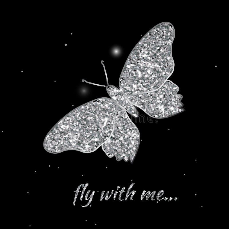 Zilveren vlinder Vector illustratie Luxe het achtergrondontwerp met lichte, trillende, gloed en fonkeling, schittert Symbool van  vector illustratie