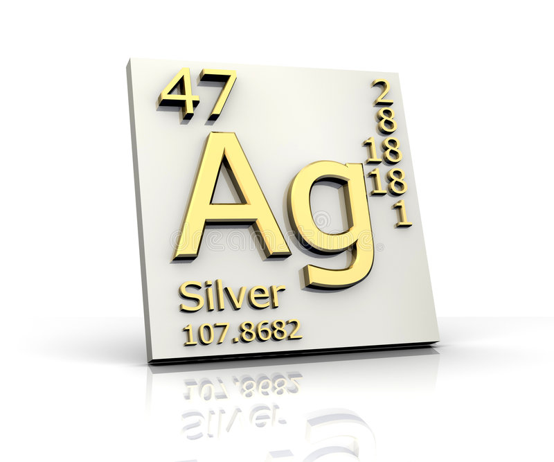 Zilveren vorm Periodieke Lijst van Elementen vector illustratie