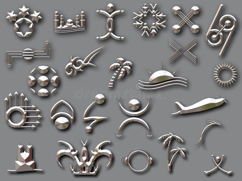 Zilveren vormen met schaduw royalty-vrije illustratie