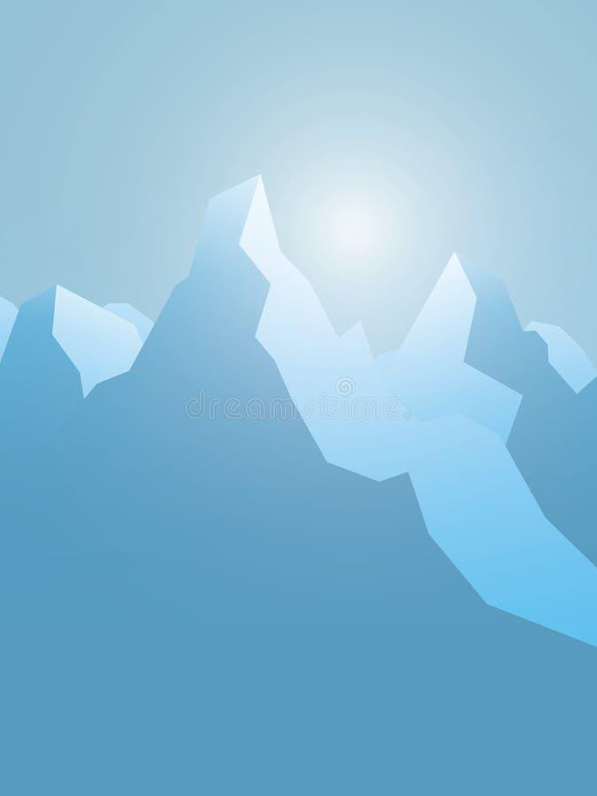 Zim śnieżnych gór wektoru abstrakcjonistyczny krajobraz Wysocy szczyty z śnieżnymi szczytami Symbol pustkowie, ekstremum sporty ilustracja wektor