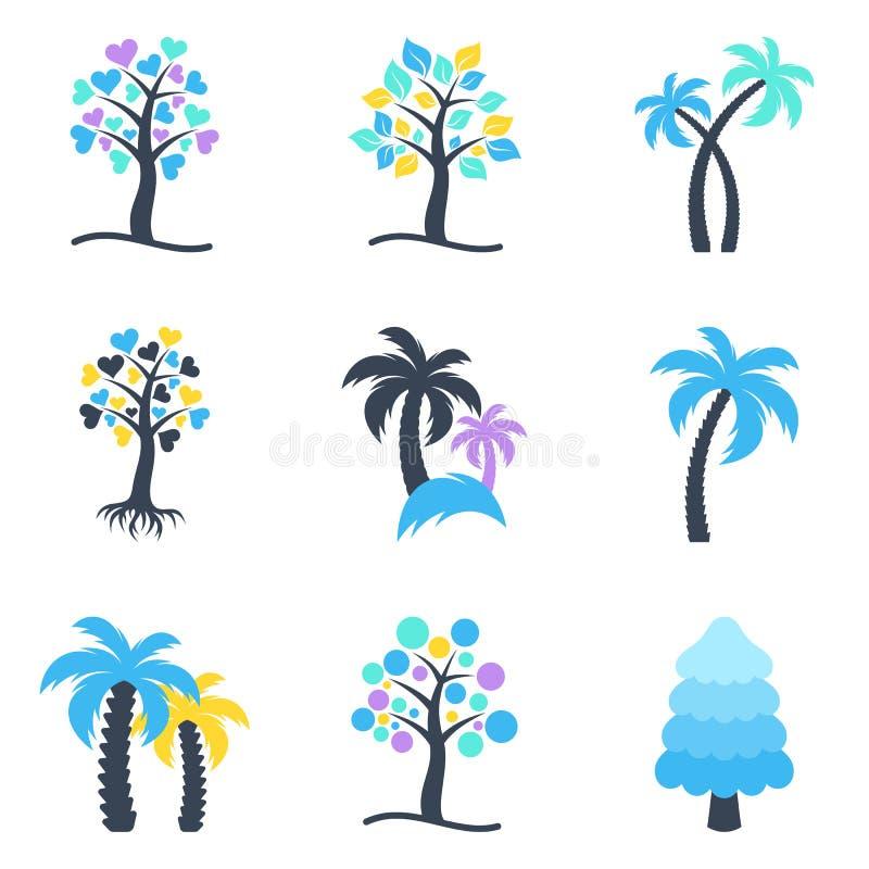 Zim abstrakcjonistyczne drzewne ikony inkasowe ilustracji