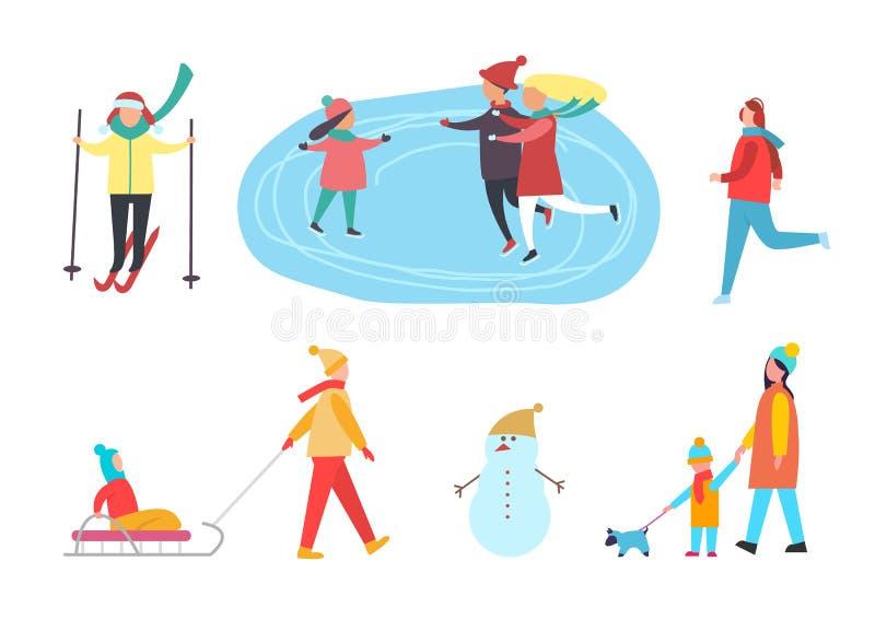 Zim aktywność, narciarstwa łyżwiarstwo na lodowisko wektorze royalty ilustracja