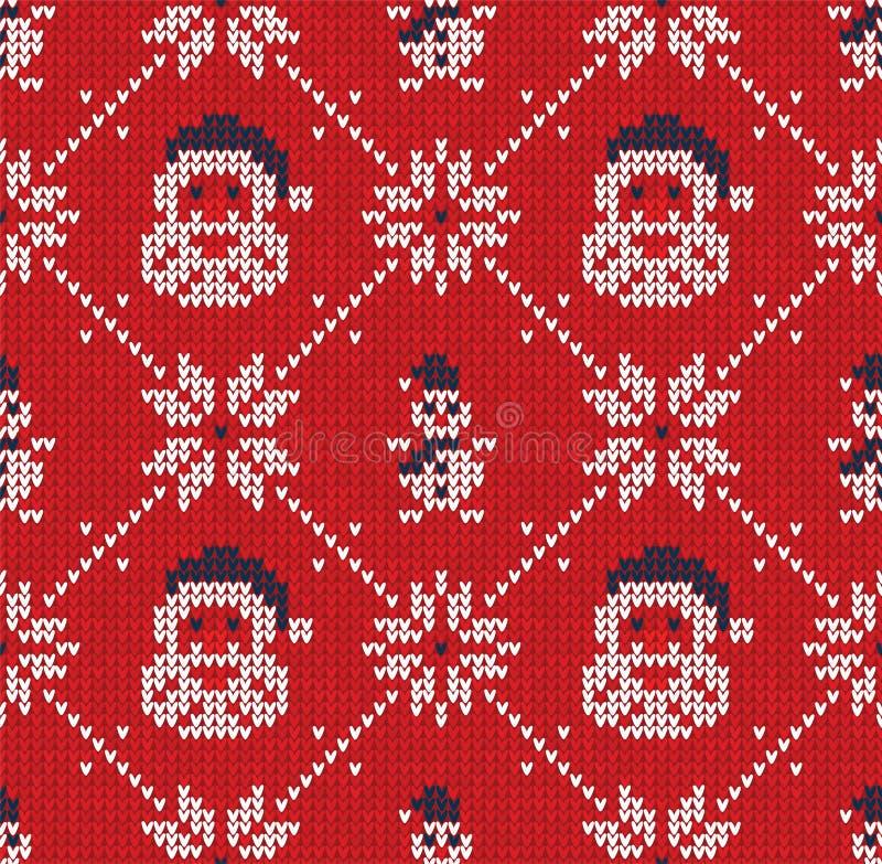 Zim boże narodzenia dziali bezszwowego abstrakcjonistycznego tło Święty Mikołaj, płatki śniegu, bałwan royalty ilustracja
