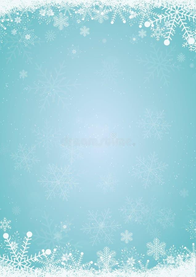 Zim bożych narodzeń błękitny tło z płatek śniegu granicą royalty ilustracja